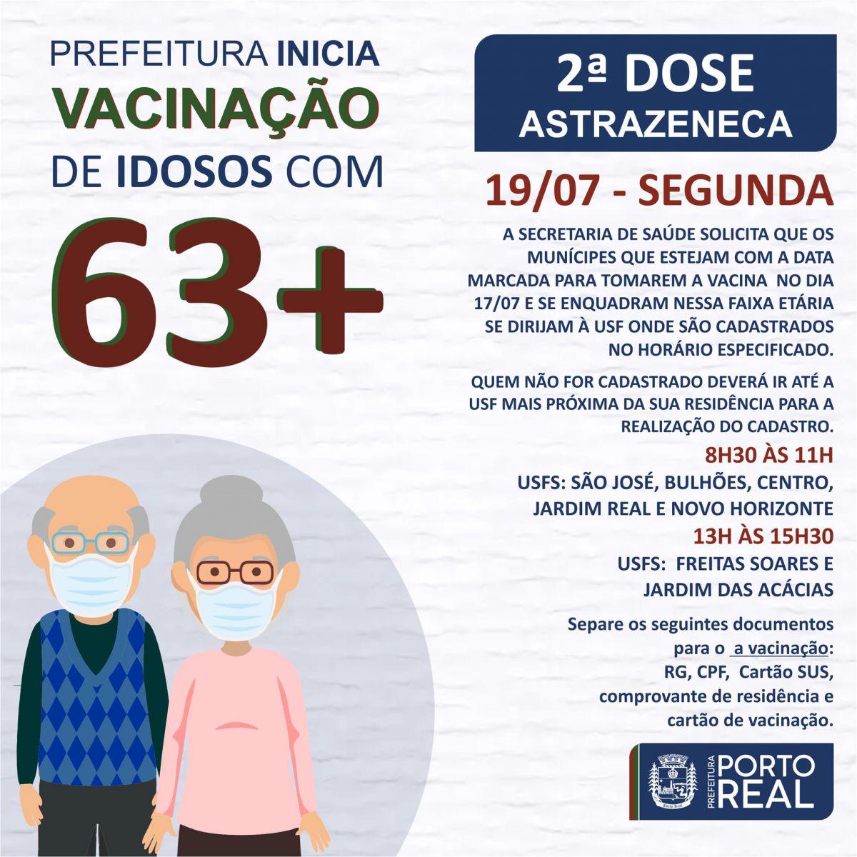 Prefeitura inicia vacinação de idosos com 63+ (2ª dose)