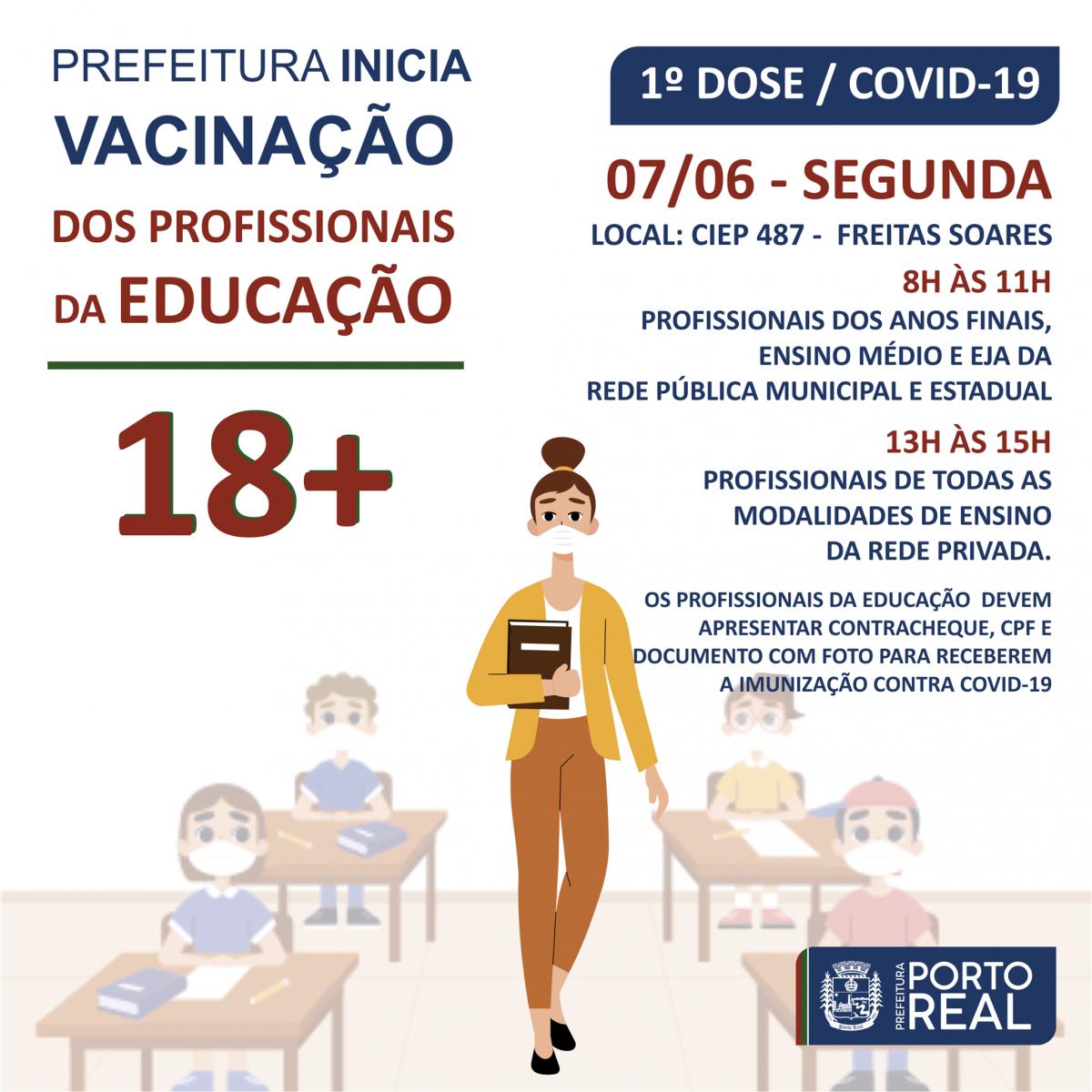Prefeitura inicia vacinação dos profissionais da Educação 18+